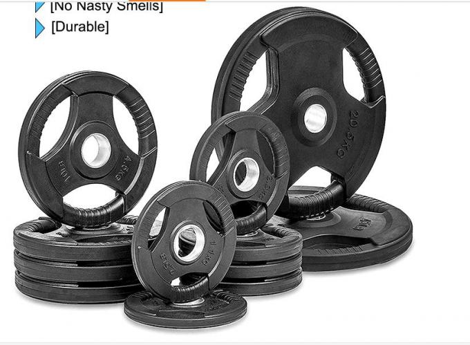 Rubber Weight Plates With Three Handles , 2.5-60kg Cast Iron Weight Plates