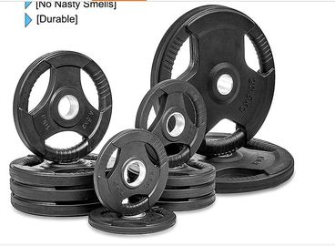 China Rubber Weight Plates With Three Handles , 2.5-60kg Free Weight Plates supplier